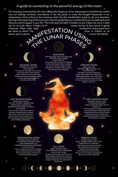 Witch Craft Manifestation Using the Lunar Phases a guide to connecting to the powerful energy of the moon moon witch lunar witch witch and moon black moon witchcraft witches new moon Magick Spells, Wiccan Witch, Wicca Witchcraft, Witch Rituals, Green Witchcraft, Healing Spells, New Moon Rituals, Full Moon Ritual, Full Moon Spells