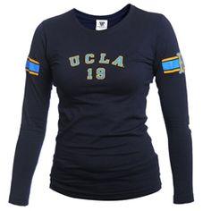 UCLA Women's Stripe Arch Long Sleeve Tee - Navy