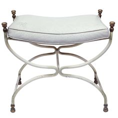 Vintage Hollywood Regency Bench | See more antique and modern Benches at http://www.1stdibs.com/furniture/seating/benches white ostrich leather