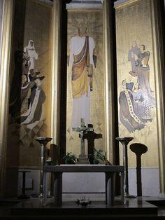 Fresques du chœur de Paule Ingrand, épouse de Max Ingrand.Église Sainte-Agnès de Maisons-Alfort. Ile-de-France