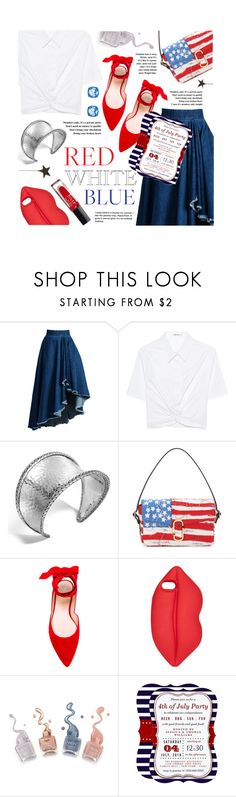 """""""Red White Blue: Celebrate the 4th!"""" by the-amj ❤ liked on Polyvore featuring WithChic, T By Alexander Wang, John Hardy, Marc Jacobs, Stuart Weitzman, Lulu Guinness and Atelier Swarovski"""