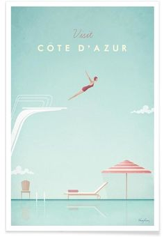 Côte d'Azur - Henry Rivers - Affiche premium
