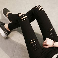 New Fashion Spring Summer Womens Skinny Ripped Jeans Leggings Torn Hole Woven Stretch Cotton Leggings Jeans Pants For Women