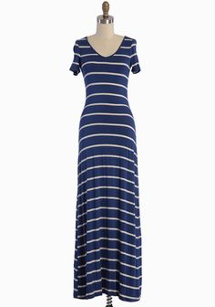 """Simple Heart Striped Maxi Dress In Blue 38.99 at shopruche.com. This classic t-shirt dress in blue is decidedly playful with heathered cream stripes and a flattering V-neckline. Crafted in impossibly soft jersey, the silhouette is finished with the perfect hint of stretch and a gentle kiss of sheen.77% Rayon, 18% Polyester, 5% Spandex, Made in USA, 57.5"""" length from top of shoulders"""
