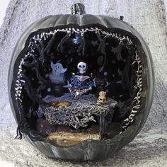 Pumpkin Diorama Shadow Box with Miniature Fortune Teller by Nacreous Alchemy