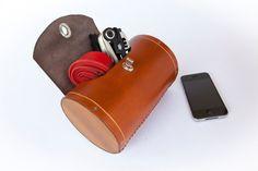 Handlebar Bag Leather Bicycle Barrel Bag by WalnutStudiolo