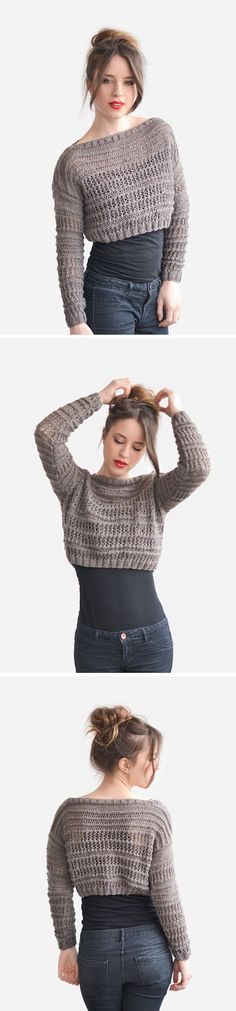 Crop Top Sweater in Light Brown Hand Knit Short Top by Plexida