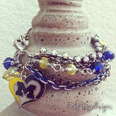 University of Michigan Wolverines Multichain rhinestones and crystals college charm bracelets by alliefayedesigns