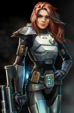 Shae Vizla - a super beast bounty hunter in the old republic times of Star Wars.