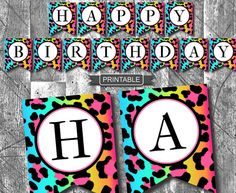 DIY Rainbow Leopard Print Girl Teen Happy Birthday Banner with Numbers Party Decorations Printable w Cheetah Print Party, Animal Print Party, Leopard Party, Happy Birthday Banner Printable, Printable Banner, Happy Birthday Banners, Cheetah Birthday, Animal Birthday, 21st Birthday