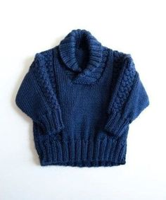 Knit baby sweater// chunky cable pullover baby toddler sweater in soft navy… Baby Boy Knitting Patterns, Baby Sweater Knitting Pattern, Knit Baby Sweaters, Toddler Sweater, Knitting For Kids, Knitting Designs, Free Knitting, Crochet Cowl Free Pattern, Crochet For Boys