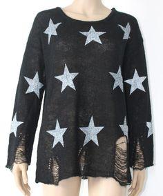 Long Sleeve Stars Print Ripped Sweater