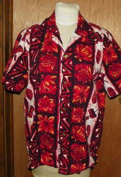 44000a5c9 Vtg Mens Ui Maikai Hawaiian Aloha Shirt with Drums Tiki Masks Pineapples  Floral