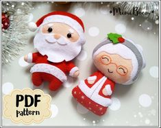 Christmas pattern felt Santa Claus and Mrs Claus pattern PDF Christmas ornaments felt pattern Santa sewing tutorial Christmas DIY ornaments Christmas Crafts To Sell, Felt Christmas Decorations, Christmas Ornaments To Make, Christmas Sewing, Noel Christmas, How To Make Ornaments, Christmas Patterns, Homemade Christmas, Christmas Stuff