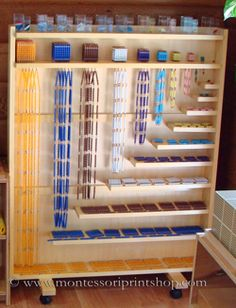 Montessori Colored Square and Cube Chains in Bead Cabinet.