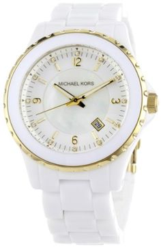 Michael Kors Women`s MK5249 White and Gold Madison 3 Hand Watch