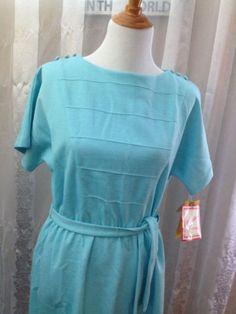 Vintage Dress Kevin Stuart Petites Size 14 Silk Blend Sea Green Short Sleeve