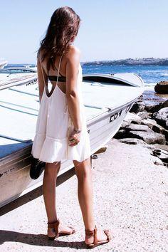 Ecote Meta Side-Tie Tiered Tank Dress #urbanoutfitters