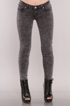 Black Denim Stonewashed Skinny Jeans
