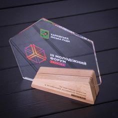 III Kharkiv Youth Forum acrylic/wooden trophy on Behance
