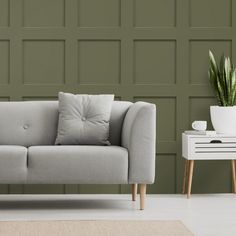 Contemporary Wood Panel Wallpaper Olive Green