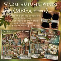 Warm Autumn Winds ~ Mega Bundle ~ by Jumpstart Designs Digital scrapbook kits $