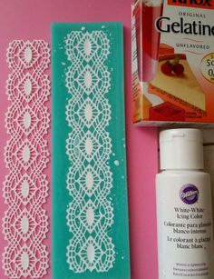 """CHEAPER """"SUGAR"""" LACE:  plain knox gelatin, and mixed 1 packet with 1/2 cup sugar, and 1 cup boiling water, then added enough white icing color to color it (abt 10 drops). Then took a dropper and filled my lace mold, and took it out the next day. It's perfect."""
