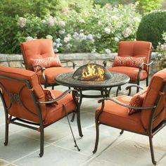 Hampton Bay Patio Furniture Cushions Fire Pit Table Set, Fire Pit Sets, Small Fire Pit, Fire Pit Patio, Fire Pits, Fire Pit Furniture, Patio Furniture Cushions, Outdoor Furniture, Furniture Ideas