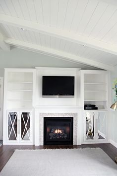 IHeart Organizing: DIY Fireplace Built-In Tutorial.swap out fireplace part for bench seat in middle Fireplace Built Ins, Faux Fireplace, Fireplace Remodel, Fireplace Surrounds, Fireplace Design, Fireplace Ideas, Built In Electric Fireplace, Living Room Electric Fireplace, Bedrooms
