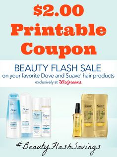 "{can I get a ""repin""?} Why do you love high-value coupons? $2.00 off Dove Hair & Suave® Hair at Walgreens (up to 50% off) http://freebies4mom.com/2offdovesuave ‪#‎ad‬ ‪#‎BeautyFlashSavings‬"