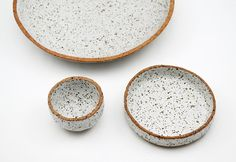 Rustic Serving Set Ceramic Bowls Speckled by susansimonini