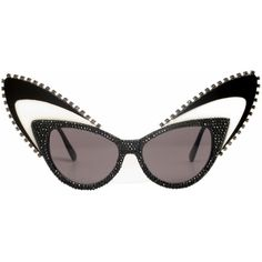 A-Morir eyewear Schmitz sunglasses. Cat Eyes with black crystals trimmed with crystal cup chain and lucite wings. a-morir sunglasses. Fashion Eye Glasses, Cat Eye Glasses, Funky Glasses, Eyewear Trends, Black Crystals, Sunglass Frames, Timeless Fashion, Eyeglasses, Fashion Accessories