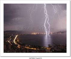 """Thunders are on the city Izmir at night""  - Art Print from FreeArt.com"