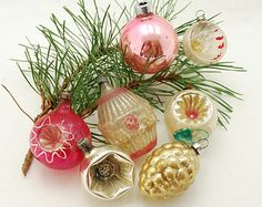 Antique Blown Glass Christmas Tree Ornament Collection -1920's - 1940's - Group of 7 - Raspberry Pinks - Silver - Gold