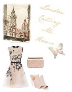"""""""London Is Calling"""" by kimberlydalessandro ❤ liked on Polyvore featuring Elie Saab, Oscar de la Renta and Halston Heritage"""
