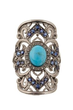 Carlo Viani - Turquoise & Sapphire Swirl Design Ring