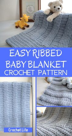 This free crochet ribbed baby blanket pattern is so pretty! It makes the perfect gift for a baby that they'll love forever. Click here to get the ribbed crochet pattern for free! #ribbedcrochet #freecrochetpattern #freebabyblanketcrochetpattern Baby Blanket Crochet, Crochet Baby, Free Crochet, Crochet Blankets, Baby Blankets, Afghan Crochet Patterns, Baby Knitting Patterns, Baby Patterns, Crochet Afghans