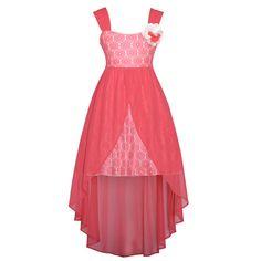 easter dresses for girls 7-16 | ... Lace Overlay Flower Hi Low Easter Dress Girls 7-16 - SophiasStyle.com