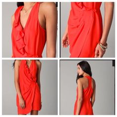 Parker Red Silk Wrap Dress With Ruffle Detail