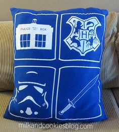 Uber-Geek pillow: Doctor Who, Harry Potter, Star Wars, and Lord of the Rings.