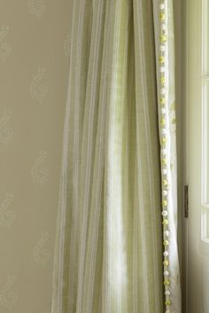 Susie Watson Designs Fabric Collection Vertically Striped Light Green And White Curtains With Pompom Edging