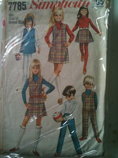 #Simplicity7785. Child's and Girls' jumper or top, skirt and pants, size 10. Copyright 1968.