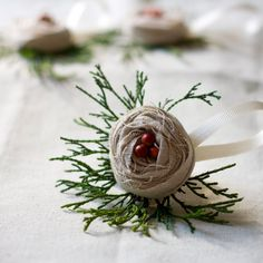 WINTER CHRISTMAS... Handmade burlap ornament.  This would be so cute on a package.