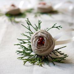 handmade burlap ornaments, Great idea..