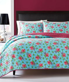 Look what I found on #zulily! Blue Floral Quilt Set by Betsey Johnson #zulilyfinds
