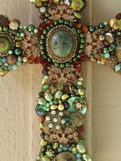 Large Wall Cross Jewelry Mosaic - One of a Kind Beaded Cross - kjs