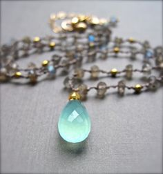Gemstone Necklace, Aqua Chalcedony and Labradorite Necklace, Hand Knotted Silk Cord Gemstone Pendant Necklace on Etsy, $88.00