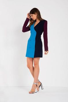 This turquoise,navy and plum colour blockedtriacetate blazer dressis the perfect party dress! This high quality... Plum Colour, Color, Blazer Dress, Perfect Party, Milan, Party Dress, Dresses For Work, Turquoise, Navy