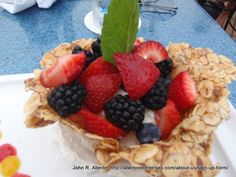 Laguna Beach's Las Brisas serves Mexican Riviera cuisine in their casual fine dining seafood restaurant. This close-up showcases the Berry Tostada as dining art. Laguna Beach Restaurants, Seafood Restaurant, Tostadas, Fine Dining, Southern California, Berry, Waffles, Mexican, Breakfast
