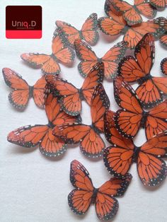 Monarchs represent Kekoa's grandmother 20 red monarch butterflies - edible cupcake toppers - edible wedding favor - wedding cake decoration by Uniqdots on Etsy
